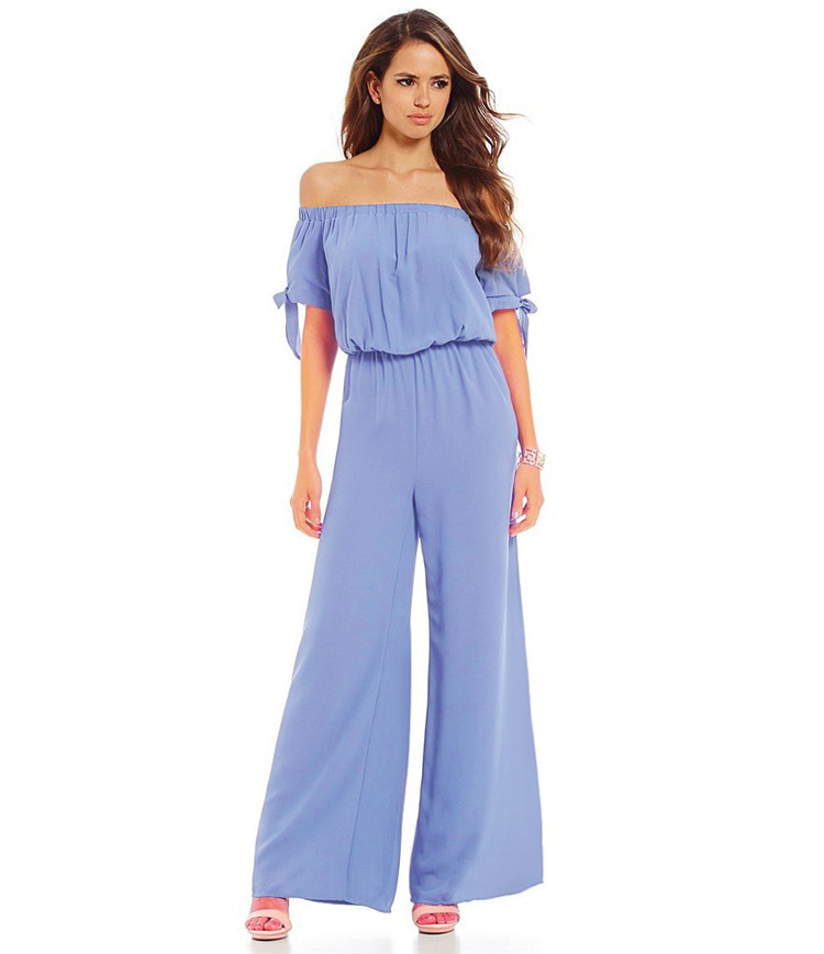 5397 fast selling hot selling one-piece collar off shoulder waist snow yarn Jumpsuit pants cuffs tie rope Jumpsuit