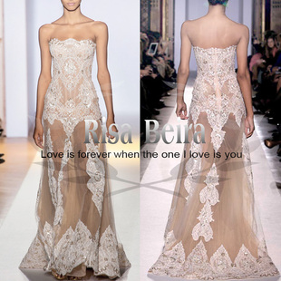 Sign Zuhair Murad catwalk style white nude color perspective barelegged heavy lace embroidery wedding dress