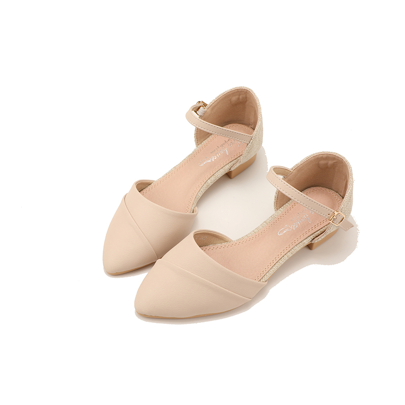 Small fresh single shoes pointed sandals fairy style thick heel button hollow low heel shoes new summer versatile shoes