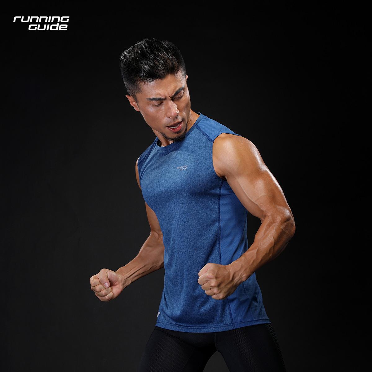 跑步指南 3633男款圆领速干透气夏季运动健身训练休闲无袖T恤