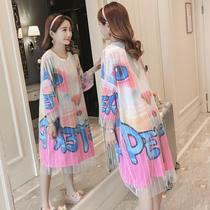 大码宽松长款短袖t恤裙女卡通印花时尚纱网假两件体恤韩版夏装潮