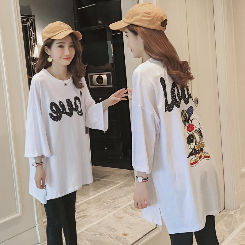 韩国东大门纯棉卡通做旧印花大码宽松中长款白色中袖T恤女装秋季
