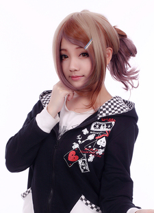 lolita Japanese Harajuku style hard sister style khaki gray reddish brown wig with purple gradient mixing long bangs