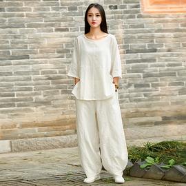 时尚宽松中式太极服女半袖上衣 棉麻太极拳练功服武术晨练服