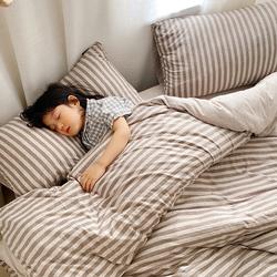 天竺棉针织棉四件套全棉条纹纯棉床上用品被套床笠学生宿舍三件套
