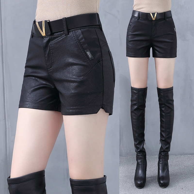 Winter leather shorts womens 2019 new versatile high waist slim outer wear bottomed autumn and winter womens short leather pants