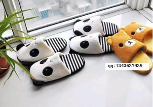 Easily bear plush home slippers floor trailer home slippers home warm cotton boots boots panda