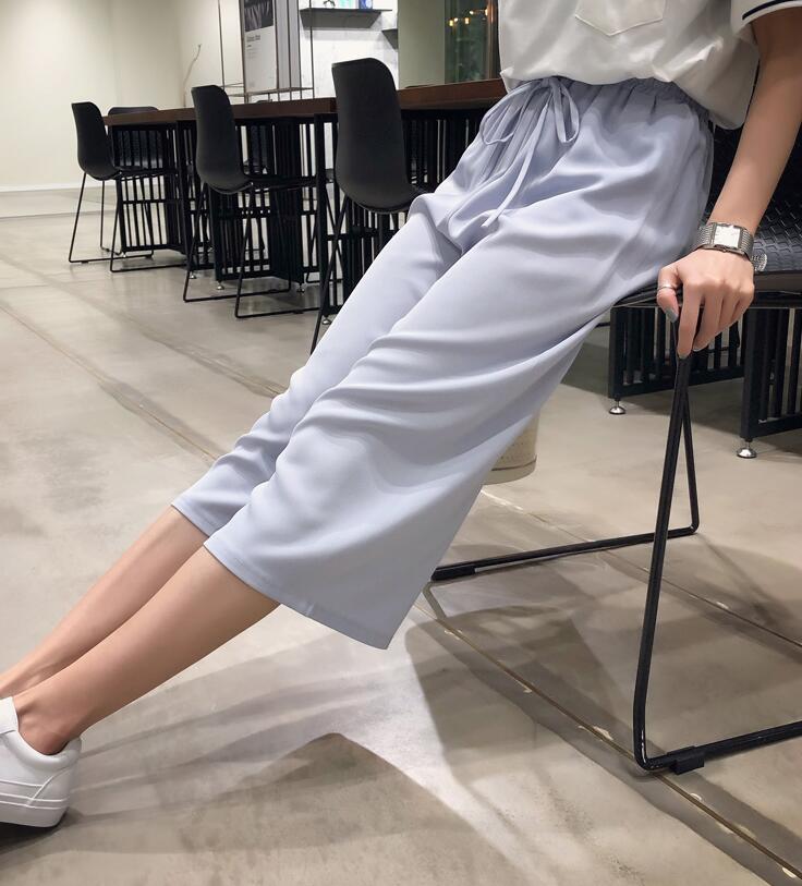 实拍有质检 三标垂感阔腿裤女春夏高腰韩版学生七分松紧腰宽