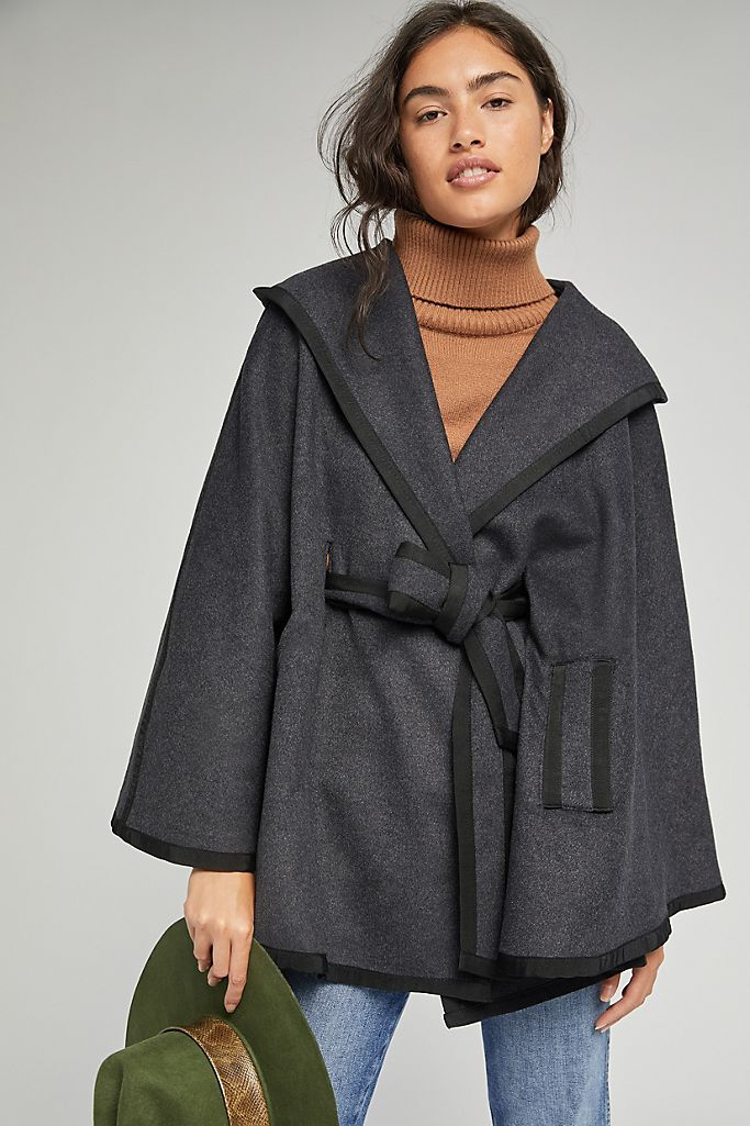 December 2020 official US genuine purchase of Anthropologie black cape coat jacket womens wear