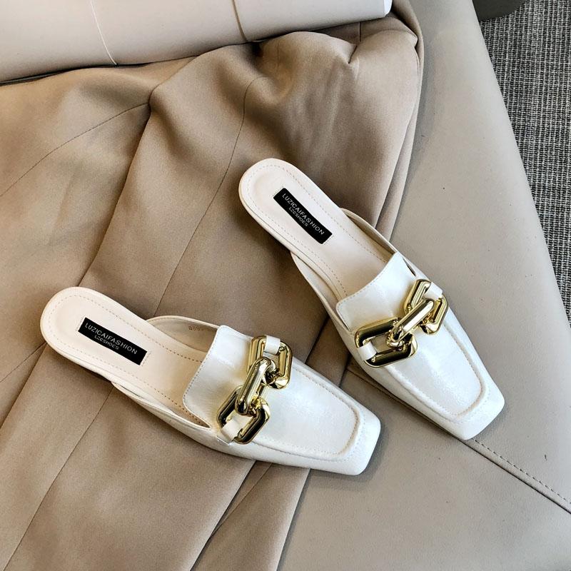 网上无双米白色方头穆勒鞋一脚蹬包头半拖鞋女鞋粗跟外穿链条凉拖