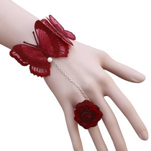 艾米米手饰品欧美复古花朵戒指蝴蝶珍珠腕带手镯新娘婚礼配饰手链