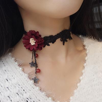 艾米米韩国颈链蕾丝酒红花蕊欧美复古日韩原宿锁骨链项链