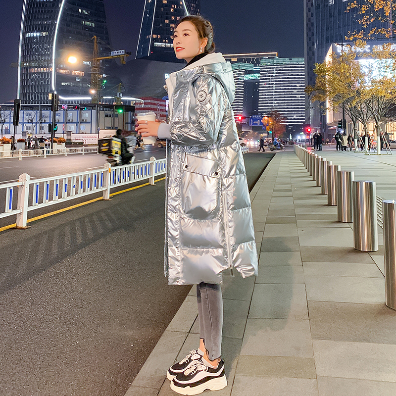 2020 new womens winter loose medium length down jacket womens bright silver hooded white duck down coat thickened