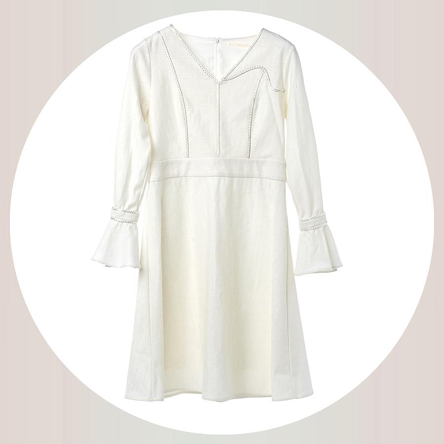 米个高级定制  喇叭袖羊毛呢连衣裙 V领收腰长袖中长裙
