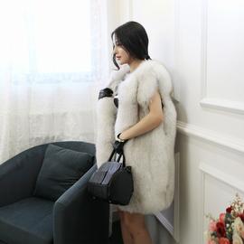 2016新时尚高端整皮超厚真狐狸毛皮草外套中长款马甲背心显瘦外套