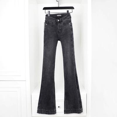 2021春夏新款高腰灰色显瘦显高修身牛仔裤加长微喇裤水洗磨白深色