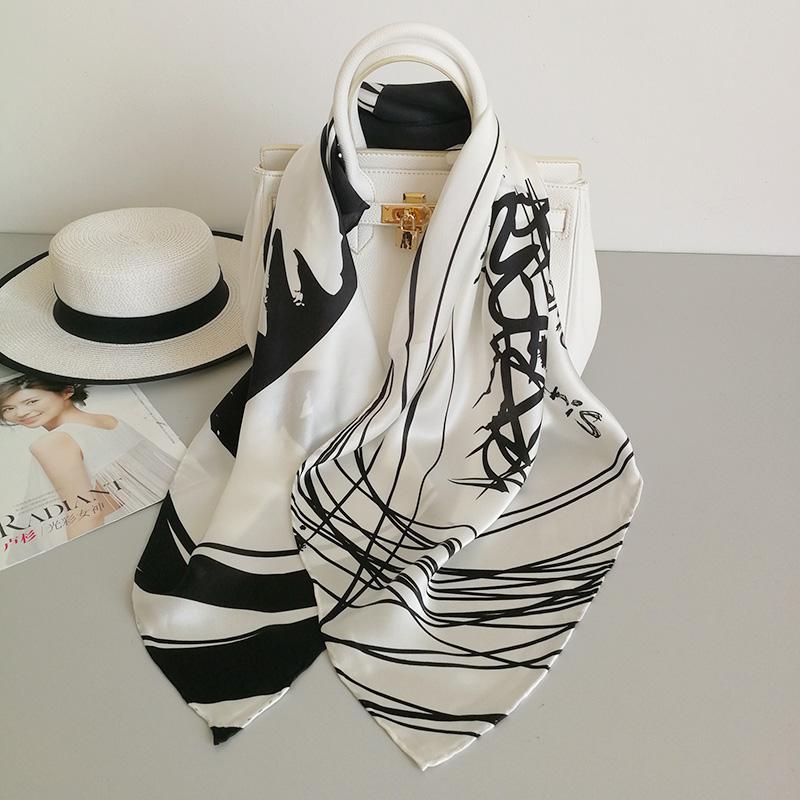 Silk satin scarf 90x90cm square scarf Hangzhou silk mulberry silk black and white scarf