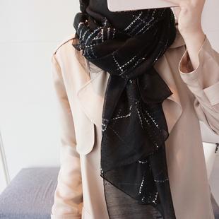 丝巾女春秋新款百搭高档桑蚕丝羊毛黑白格子围巾披肩长款两用纱巾图片