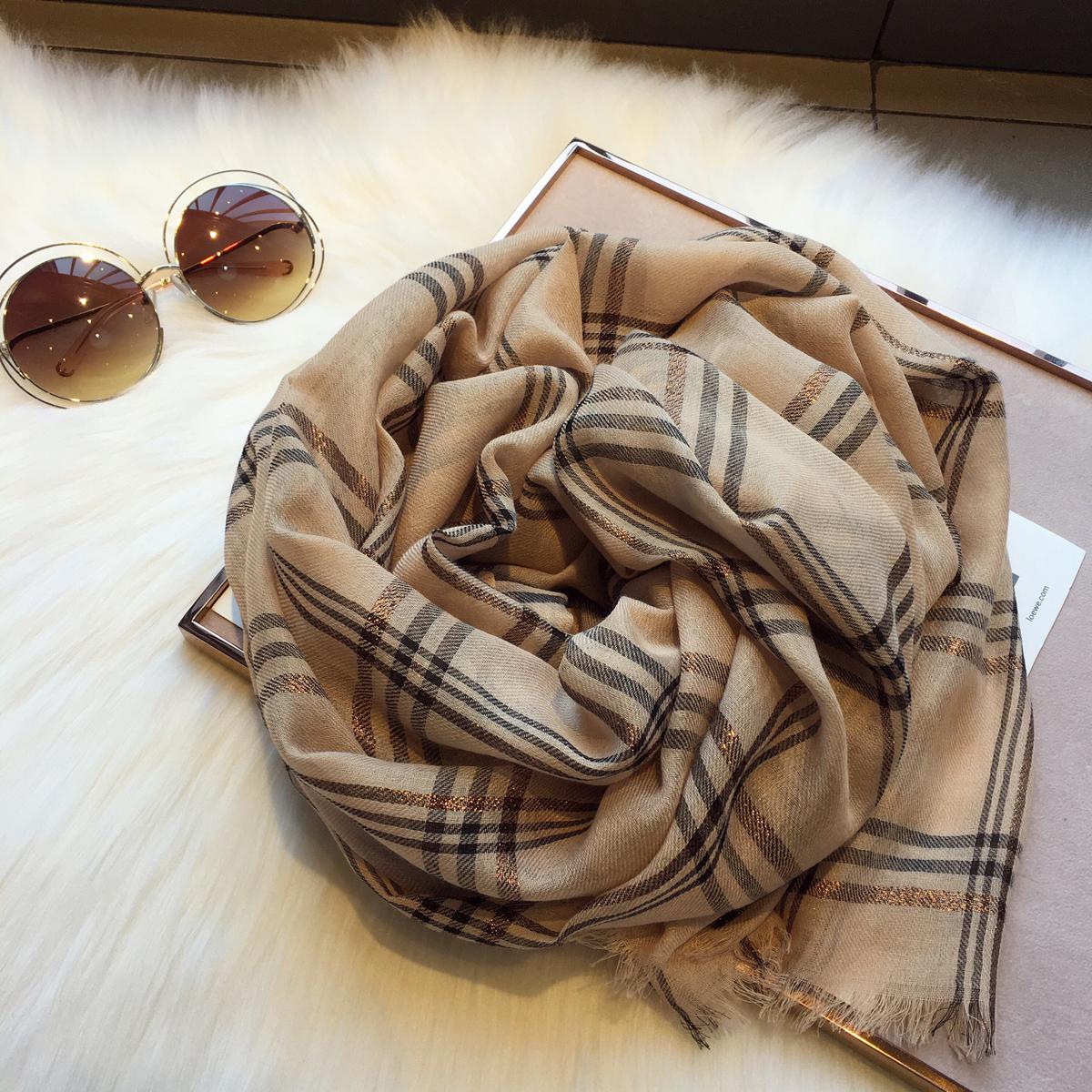 春秋季韩国东大门卡其色金丝格子超大加长披肩围脖戒指绒羊毛围巾