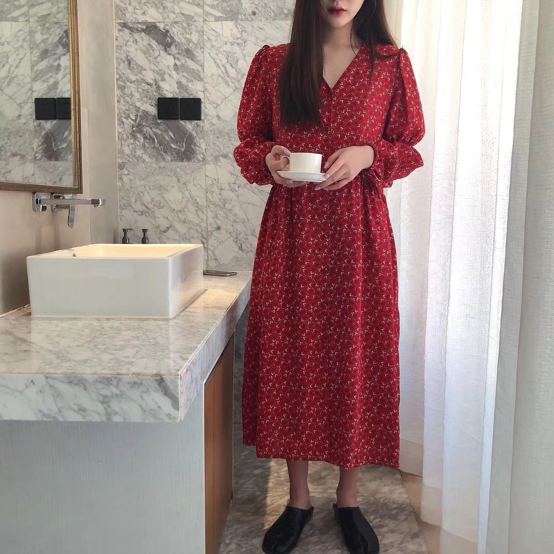 Spring 2020 New Red Floral Chiffon Dress