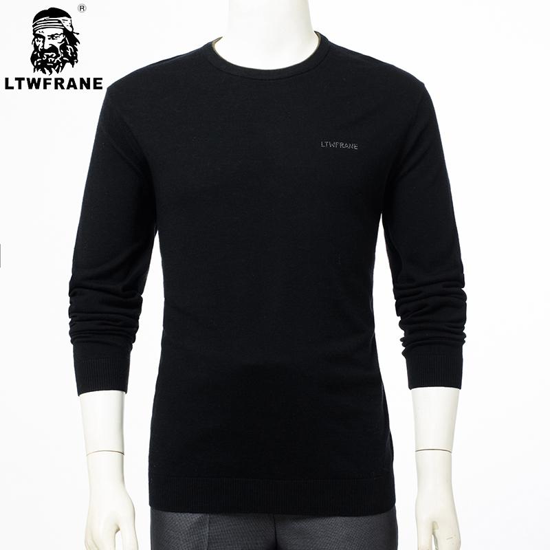 包邮特价正品LTWFRANE男装毛衣商务圆领纯羊毛羊毛衫7165黑色
