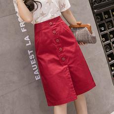 高腰中长款a字半身裙女夏2020新款一步裙休闲松紧腰开叉红色包臀