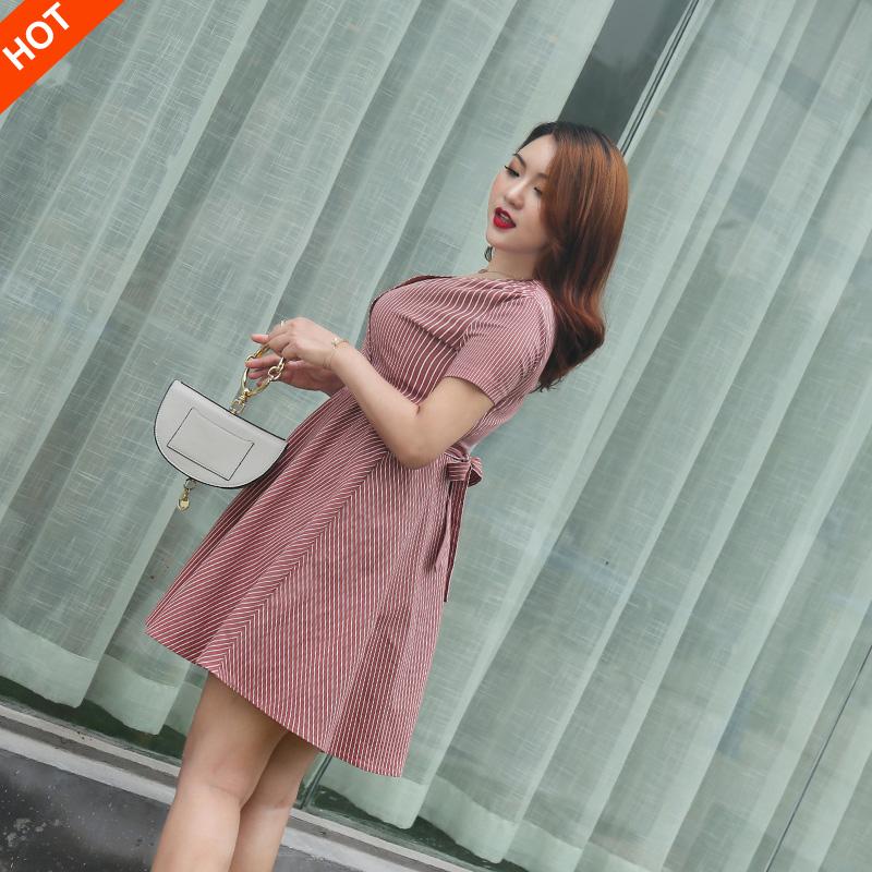 2018胖妹妹夏装新款修身显瘦遮肚子连衣裙藏肉洋气大码女装女5402