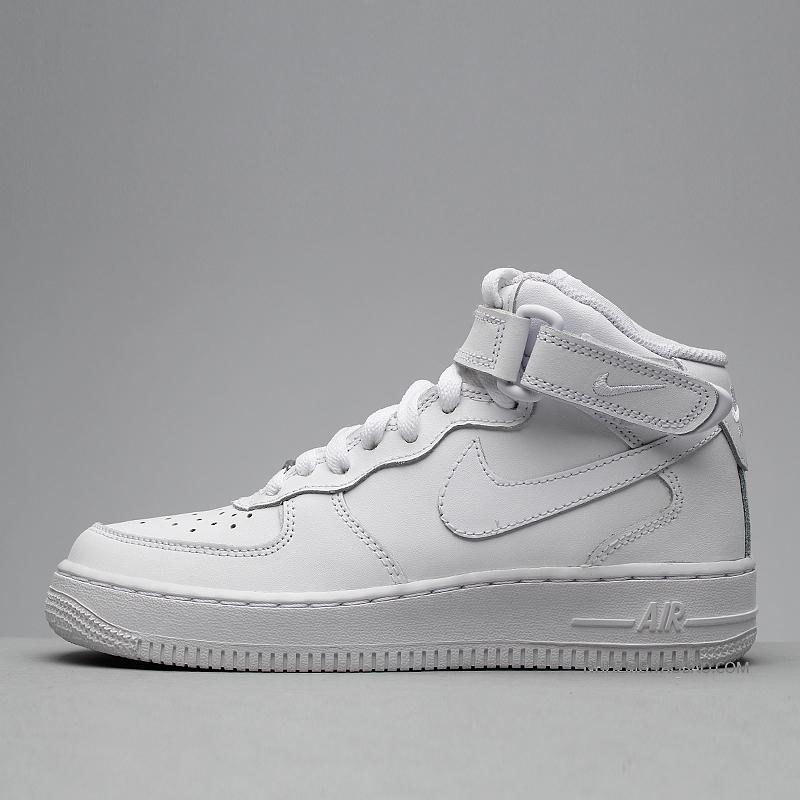 牛哄哄 Nike Air Force 1 Mid AF1全白中高帮 314195-113