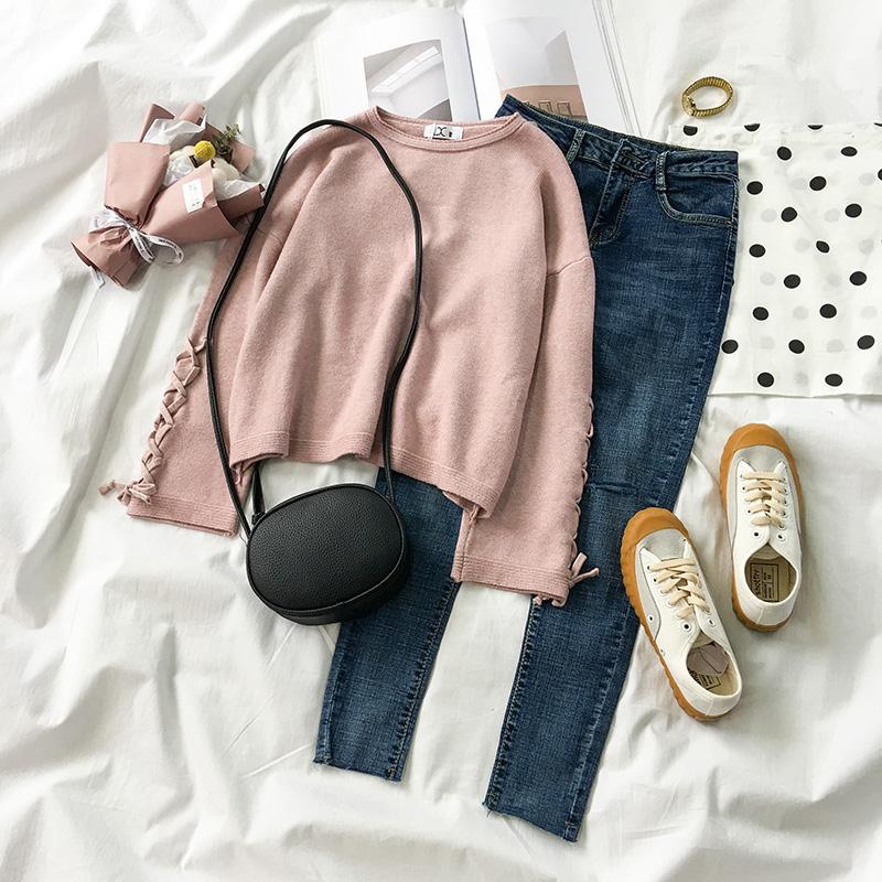秋装2018新款女装韩版毛衣直筒牛仔裤子女神气质早秋款两件套装潮