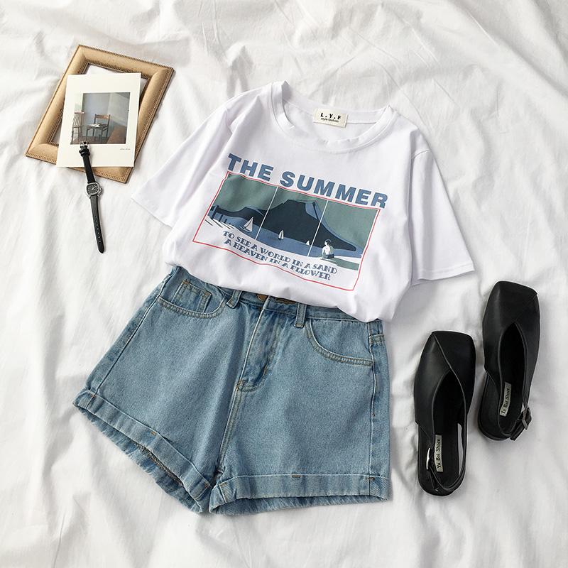 夏装2018新款女装韩版ulzzang宽松半袖套头圆领短袖t恤女百搭学院