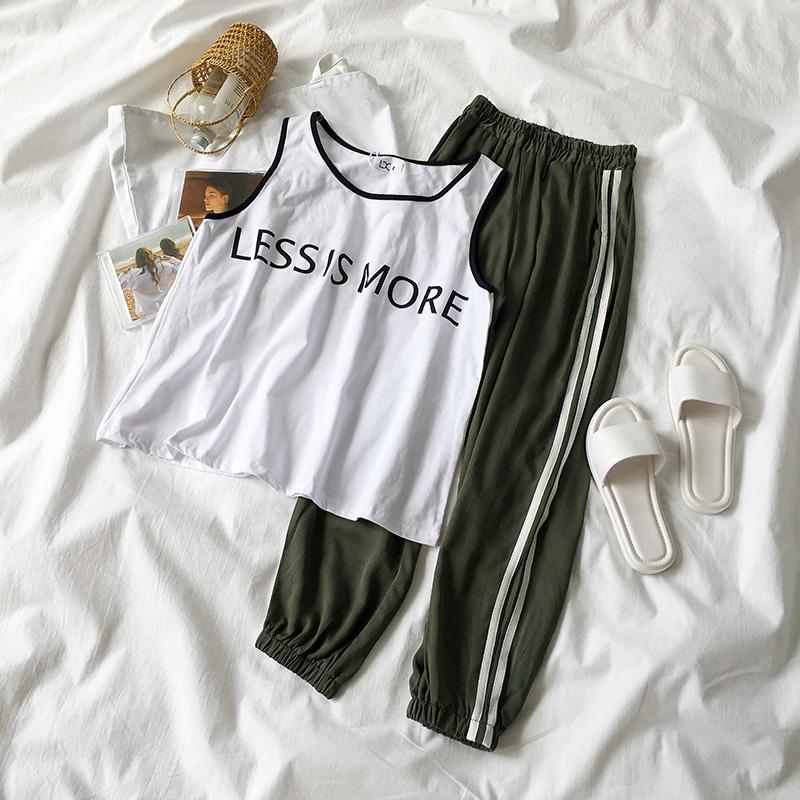 黑牛奶少女~夏装2018新款女装韩版背心+松紧腰休闲裤时尚两件套装