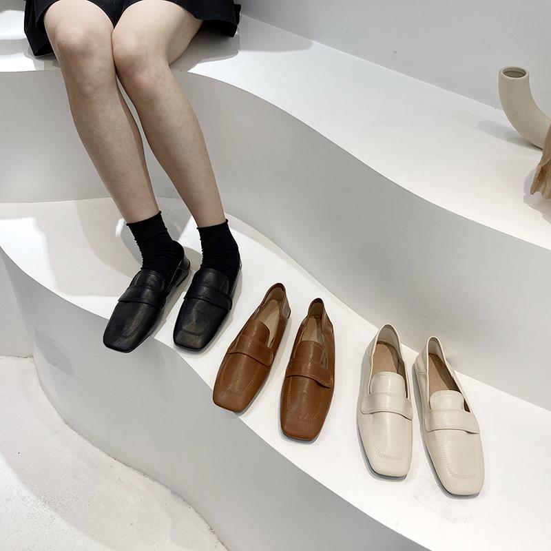 豆豆鞋女2021年新款简约平底休闲单鞋一脚蹬乐福鞋爆款小皮鞋鞋子