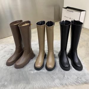 不过膝高筒靴女秋冬季新款圆头中长筒骑士靴子网红爆款马丁靴单靴