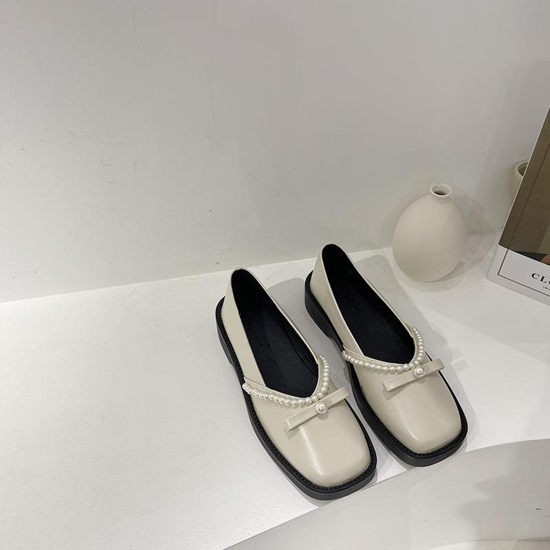 鞋子女2020新款复古法式单鞋一脚蹬懒人小皮鞋软底休闲珍珠豆豆鞋