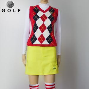 高尔夫运动马甲毛衣背心golf休闲服装无袖女球服V领针织衫高球衣