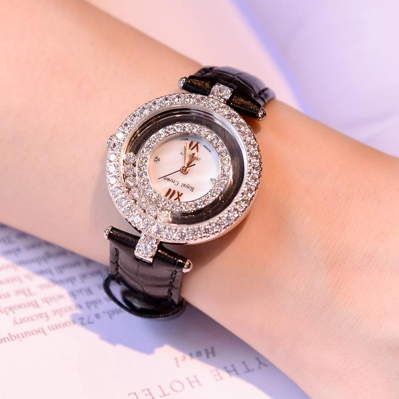 2020年新款正品时尚镶钻女表真皮表带防水手表女士国产腕表送女友