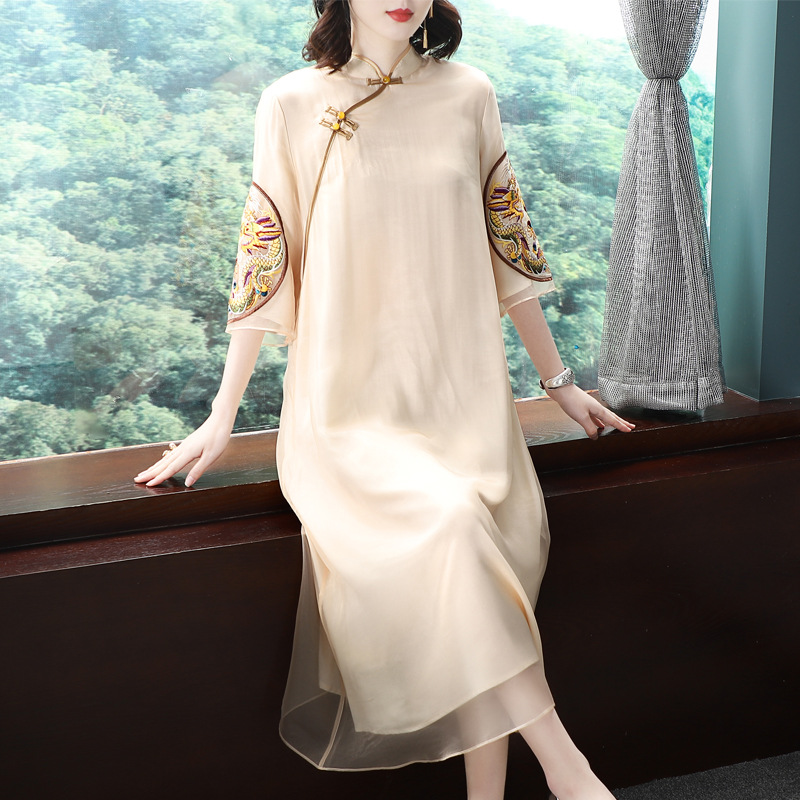 Dragon Robe Chinese Style Embroidered Organza Dress womens spring and summer new mid long flared sleeve stand collar dress
