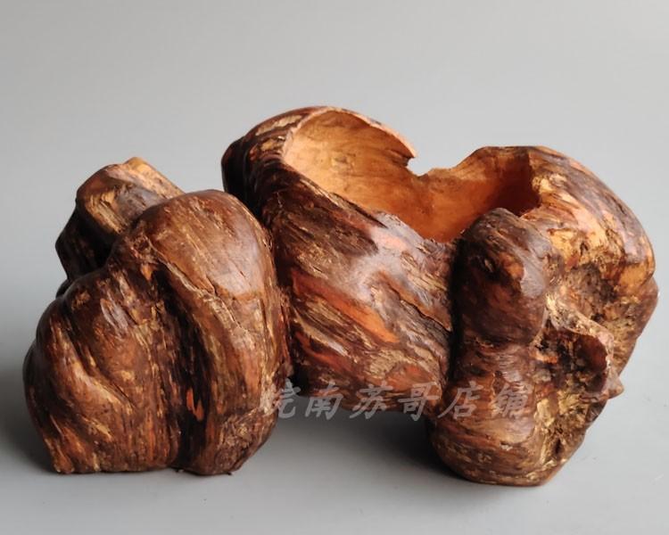 风化木树根随形手工个性创意多肉花盆烟灰缸天然一体摆件饰品家居