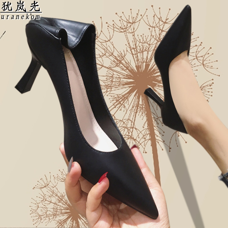 French style work professional black high heeled shoes soft leather comfortable no grinding feet