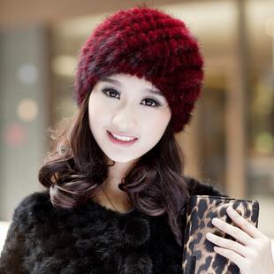 水貂编织菠萝帽秋冬天女士皮草帽子时尚中老年护耳休闲冬季帽子女