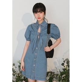 LOVEHEYNEW法式复古泡泡袖牛仔裙连衣裙女夏季蝴蝶结镂空蓝色裙子