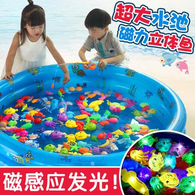 双贝儿童钓鱼玩具 男女益智宝宝钩鱼磁性感应发光鱼池套装竿136岁