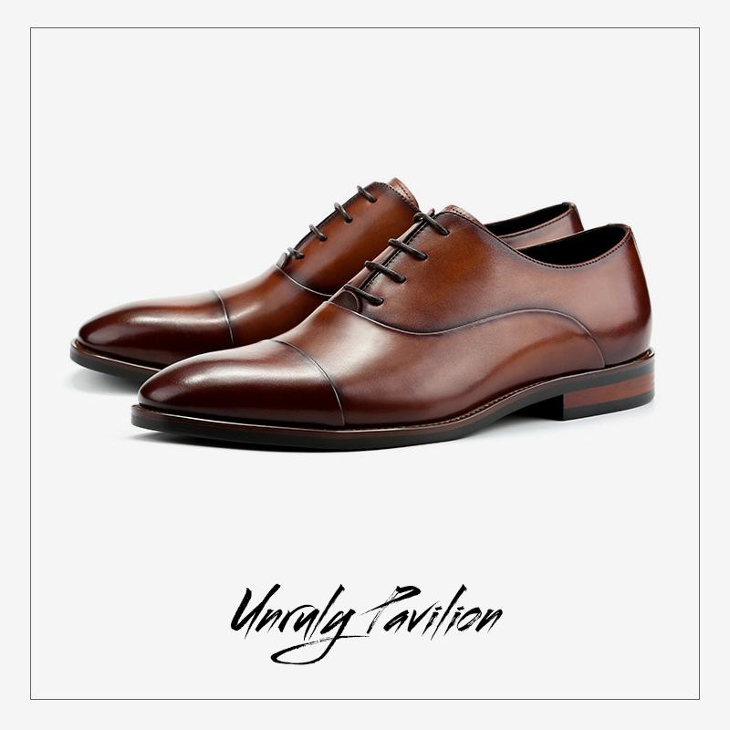 春夏季休闲男鞋英伦男士正装皮鞋复古手工擦色做旧牛津鞋尖头婚鞋