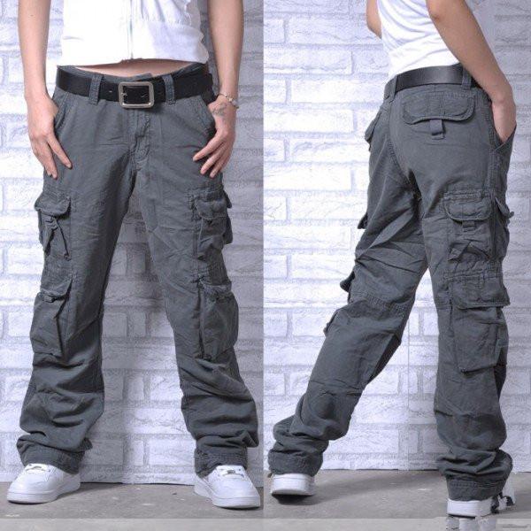 Maji cotton washable loose fashion casual pants multi bag pants camouflage pants lovers pants mens and womens overalls pants