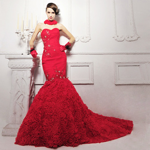 2015 new wedding dress elegant red roses sculpting Bra trailing fishtail wedding dress S950