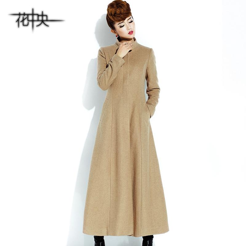 花中央秋冬 长款气质修身毛呢大衣 羊毛大衣纯色羊毛呢子外套女