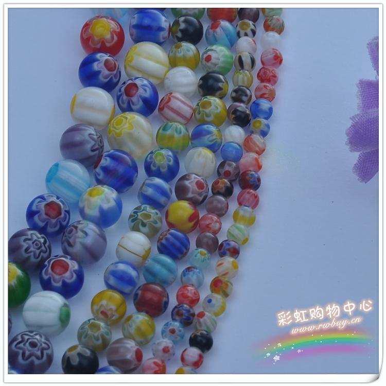 4/6/8/10/12MM/串 千花琉璃圆珠散珠子混色 DIY手工饰品配件