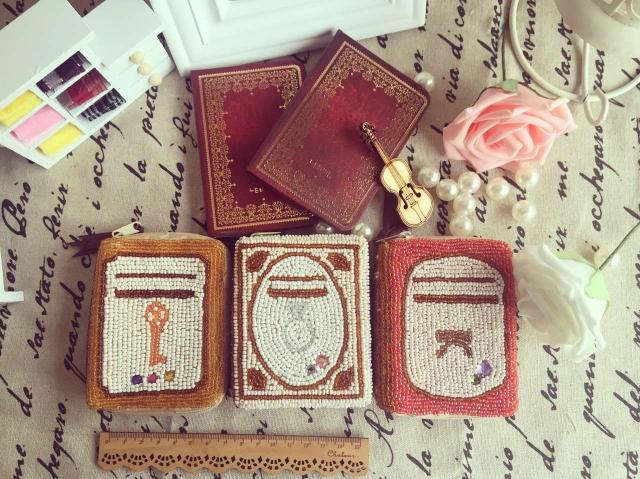 Loss clearing handmade beads lovely retro Book Change Purse / Coin Bag / card bag / key bag
