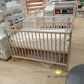 Кроватки детские,  Ikea покупка товаров блеск сетка сорняки дерево кровать для младенца 120*60 детская кроватка бук 2 блок высота ребенок кровать нет краски, цена 3857 руб