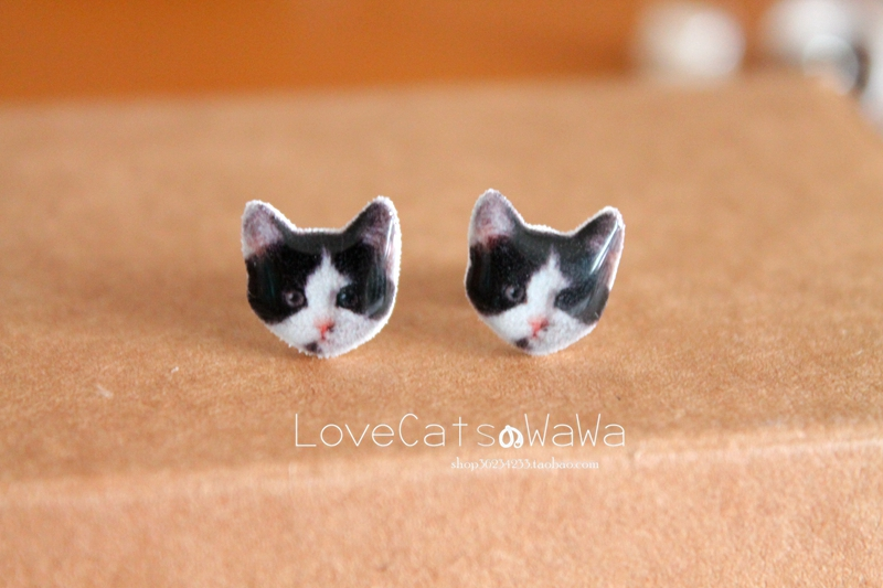 Baby hand made meow star cow cat Ear Stud 925 silver cute Earrings ear clip without ear hole